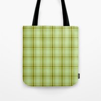 Plaid Green On Green Tote Bag