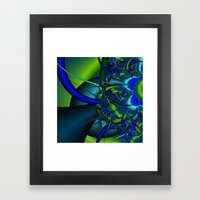Blue  n green abstract fractal Framed Art Print