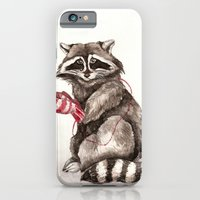 iPhone & iPod Case featuring Pensive Raccoon in Red Mittens. Winter Season. by Goosi