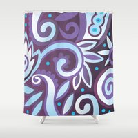 Summer leaves, purple Shower Curtain