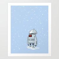 Robot Love Snow Art Print