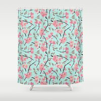 Cherry Blossom Pattern(sky) Shower Curtain