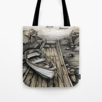 Old Boat on the Dock Tote Bag