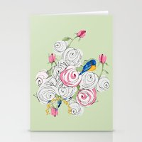 Bluebirds and Roses on Green Stationery Cards