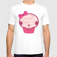 Cupcake Skull Mens Fitted Tee White SMALL