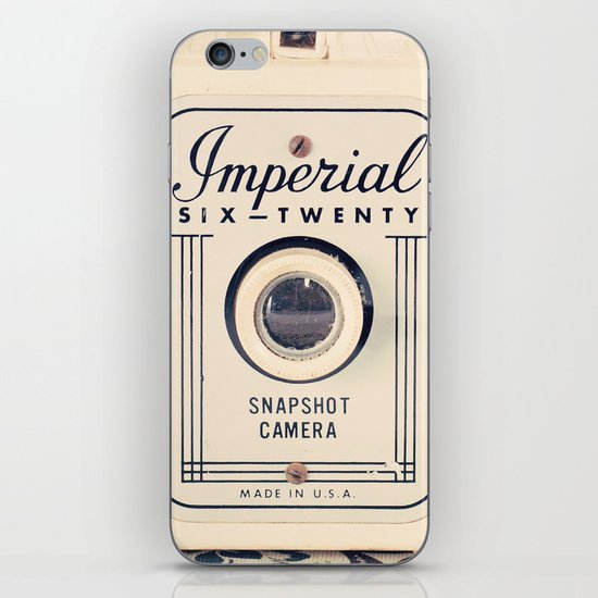 Retro Beige Camera on a Violet Paisley Background  iPhone & iPod Skin