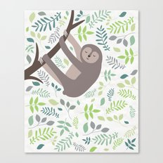 Happy Sloth with Leaves Illsutration Canvas Print