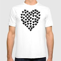 Hearts Heart Black and White Mens Fitted Tee White SMALL
