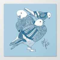 blue pigeon square Canvas Print