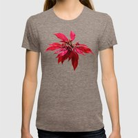 Poinsettia Painting Womens Fitted Tee Tri-Coffee SMALL