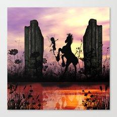 Cute fairy with foal  Canvas Print