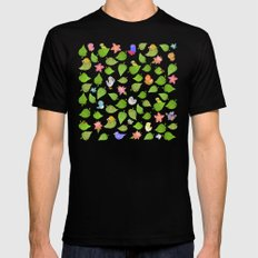 birds&leaves Black SMALL Mens Fitted Tee