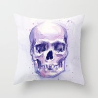 Skull Watercolor Purple Throw Pillow