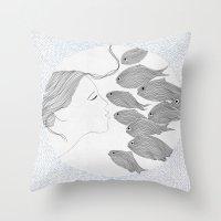 Fish And Girl Throw Pillow