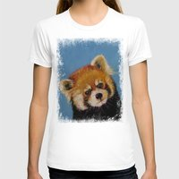 Red Panda Womens Fitted Tee White SMALL