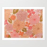 Retro Floral Sheets Pink Art Print