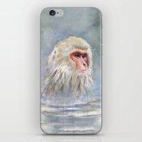 Snow Monkey Watercolor Cute Animal Portrait iPhone & iPod Skin