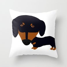 Dachshund (black and tan) Throw Pillow