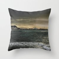Storm in the sea Throw Pillow