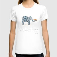 Polka Dot Elephants Serv… Womens Fitted Tee White SMALL