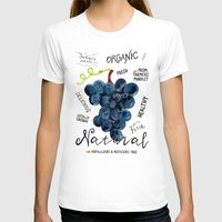 Watercolor grapes Womens Fitted Tee White SMALL