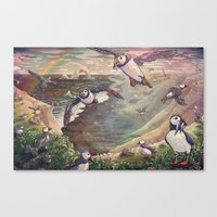 Cliffside Puffins Canvas Print