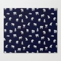 Indian Baby Elephants in Navy Canvas Print