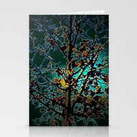 Autumn Tree on Turquoise Background Stationery Cards