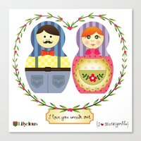I {❤} Matryoshka Canvas Print