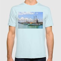 Boats Moored On A River Mens Fitted Tee Light Blue SMALL