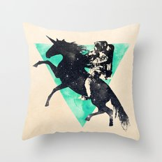 Ride the universe Throw Pillow