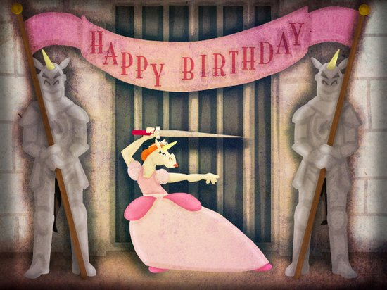 Warrior Princess Birthday Unicorn Art Print