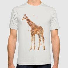 giraffe, african animals, wildlife, cute baby giraffe, nursery animals, safari Mens Fitted Tee Silver SMALL