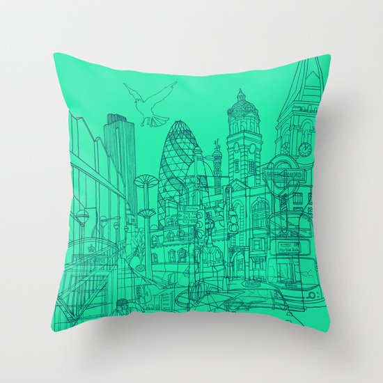 London! Mint Throw Pillow