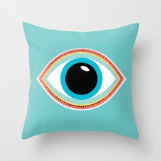 Evil Eye Aqua Throw Pillow