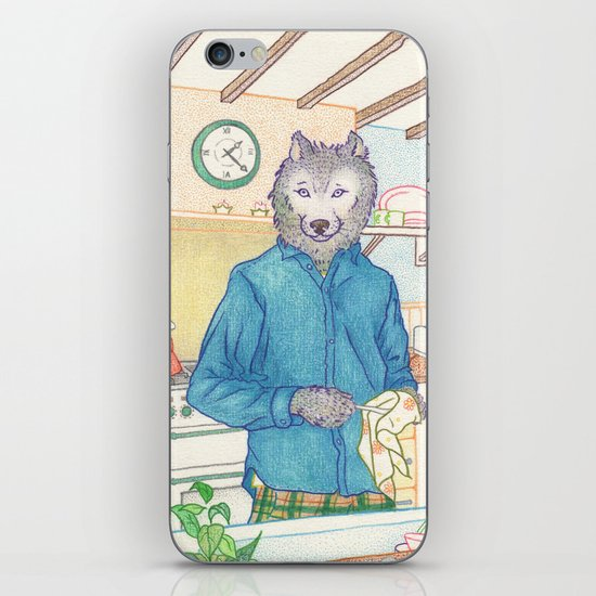 Everyday Animals - Mr Wolf washes the dishes iPhone & iPod Skin