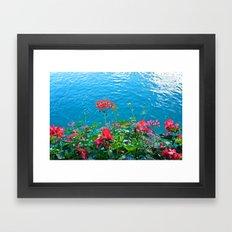 Chapel Bridge Flowers Framed Art Print