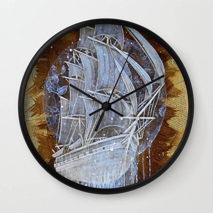 man o war iii wall clock by bryan keith lanier society6