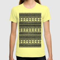 TRIBAL MONOCHROME Womens Fitted Tee Lemon SMALL