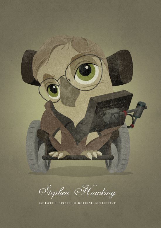 Stephen hawking - Greater-spotted British Scientist - as an owl. Art Print
