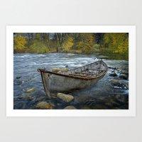 Canoe on the Thornapple River in Autumn Art Print