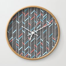 Herringbone Black and Blue #2 Wall Clock