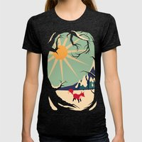 Fox roaming around II Womens Fitted Tee Tri-Black SMALL