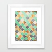 Charcoal, Mint, Wood & Gold Moroccan Pattern Framed Art Print