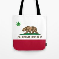 California Republic state flag with green Cannabis leaf Tote Bag