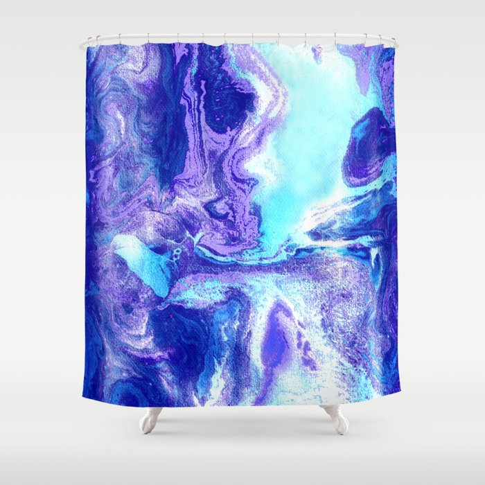 Swirling Marble In Aqua Purple Royal Blue Shower Curtain By Tangerine Tane Society6