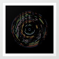Rainbow Record on Black Art Print