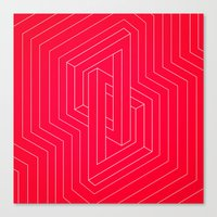 Modern minimal Line Art / Geometric Optical Illusion - Red Version  Canvas Print