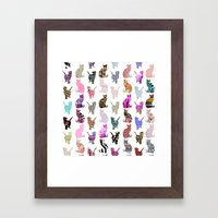 Girly Whimsical Cats aztec floral stripes pattern Framed Art Print