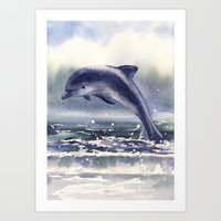 DOLPHIN painting, watercolor dolphin art, sea creatures, ocean lover gift, beach house decor, nautic Art Print